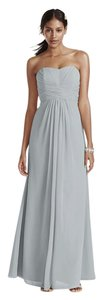 David's Bridal Silver Chiffon F15555 Formal Bridesmaid/Mob Dress Size 6 (S)