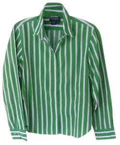 Ralph Lauren A Happy Shirt. Top Apple Green and White Stripes