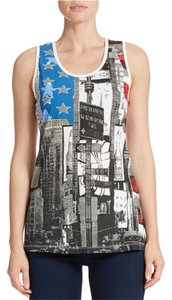 William Rast V-neck Sleeveless Graphic Tee Flag Tee Top Red, White and Blue
