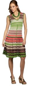 BCBGeneration short dress Avocado Striped Lurex Sleeveless on Tradesy