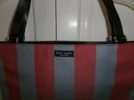 Kate Spade Satchel in Blue & Red Stripes, Leather Handles & Trim