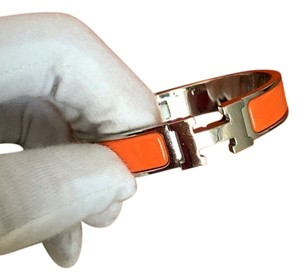 Hermès Orange and Silver Clic Bracelet