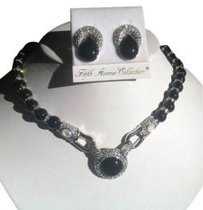Fifth Avenue Collection Fifth Avenue Collection Genuine Black Onyx & Moonstone Necklace Set