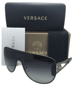 Versace New VERSACE Sunglasses VE 2166 1252/8G 140 Gold & Black Shield Frames+Grey Gradient