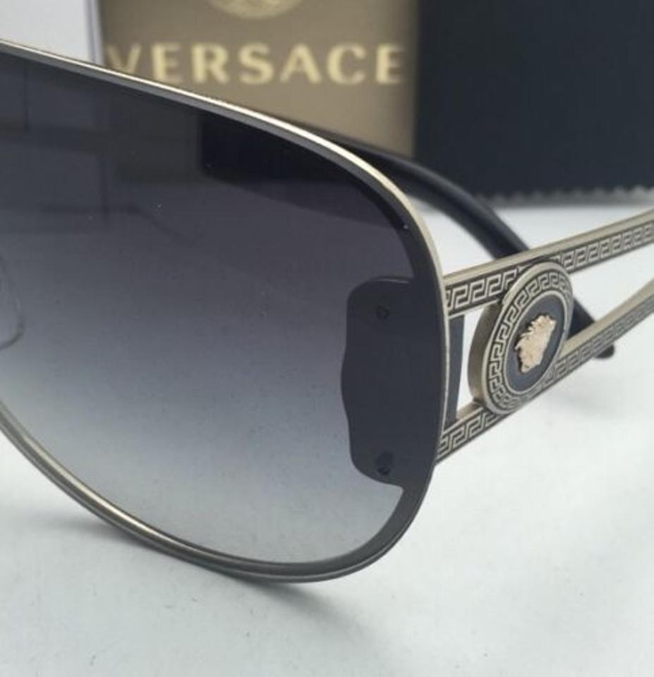 1fcf8dba38e65 Versace New VERSACE Sunglasses VE 2166 1252 8G 140 Gold   Black Shield  Frames+. 123456789