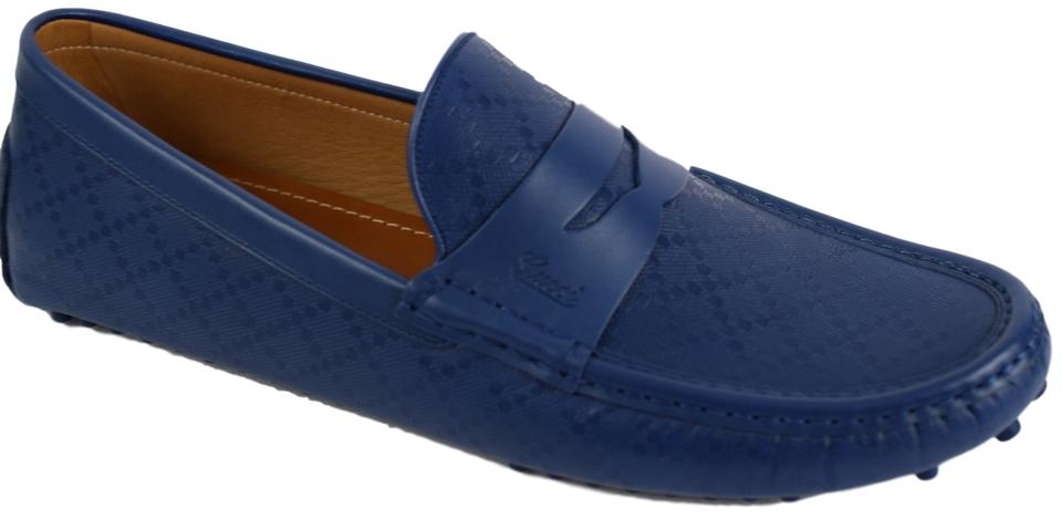 41c2f1293a6 Gucci Blue Hilary Lux Diamante Leather Slip On Men Moccasin Driver ...
