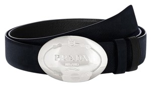 Prada Classic reversible belt from Prada Saffiano Leather [37.5(US) / 95(IT) ] #39297 black-blue