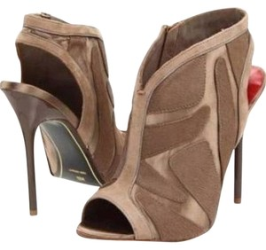 Charles Jourdan Suede Satin Calf Hair Bootie Taupe Boots
