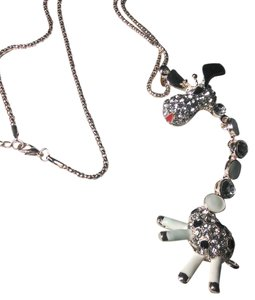 Betsey Johnson New Betsey Johnson Black White Giraffe Pendant Necklace Gold Chain J318
