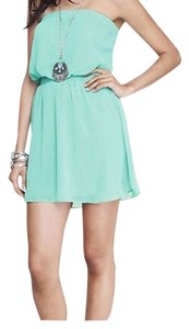 Express short dress Seafoam Strapless Fit And Flare on Tradesy