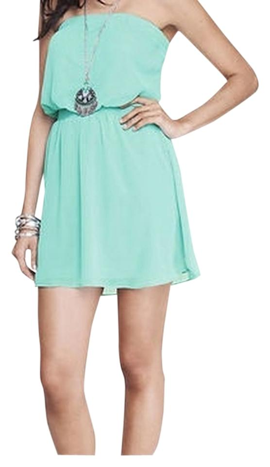 c5994e26dd6 Express Seafoam Chiffon Strapless Above Knee Short Casual Dress Size ...