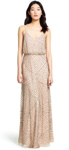 Adrianna Papell Taupe/ Pink Beaded Art Deco Blouson Gown Formal Bridesmaid/Mob Dress Size 6 (S)
