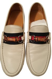 Gucci Mens Drivers Loafers Leather Ivory with Gucci colored band Flats