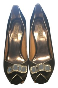 Badgley Mischka Silver Black Pumps