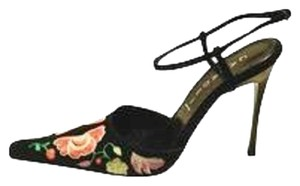 Casadei Suede Embroidered Stiletto Ankle Strap Italian Pumps