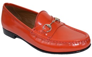 Gucci Loafers Men's 353028 Men's Leather Platform Lace-up 353027 Hilary Lux Diamante Leather Slip On Moccasin Driver Orange Flats