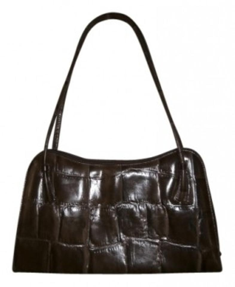 de3907101f Gilda Tonelli Italian Made Embossed Chocolate Brown Leather Shoulder ...