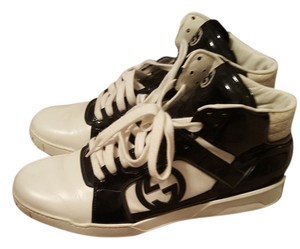 Gucci Mens Sneakers Patent Gg black and white Athletic