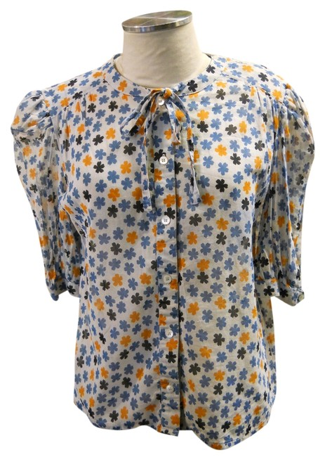 Céline Shirt Button Down Sheer Cotton Blue Orange White Top Multi
