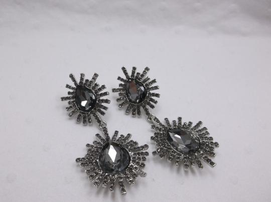 Other Gray Night Burst Fashion Earrings with Stainless Steel Posts