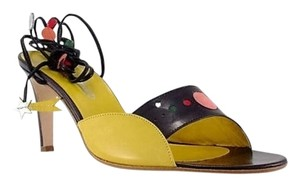 Ashley Dearborn Vintage Leather Couture Planets primarily black and yellow Pumps