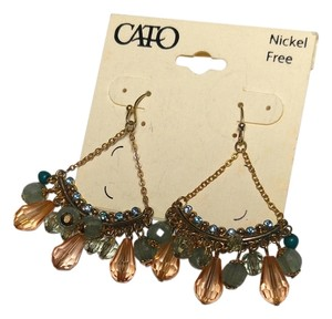 Cato New Cato Dangle Chandelier Earrings Peach Blue Gold Tone Long J2121