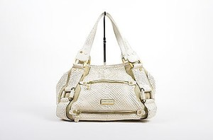 Jimmy Choo Cream Python Suede Maddy Tote in Beige