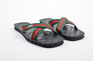 Gucci Mens Red Stripe Green Canvas Flip Flops Multi-Color Sandals