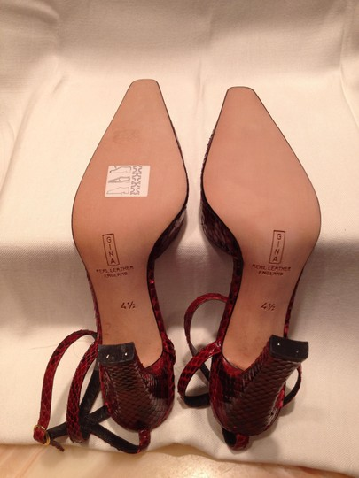 Gina Peters Red Python Snakeskin London Claret (Deep Red) Pumps