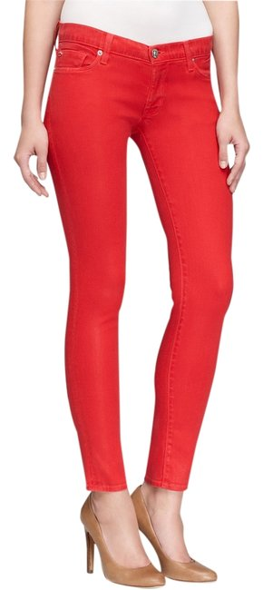 Item - Red Coated Krista Super Skinny Jeans Size 24 (0, XS)