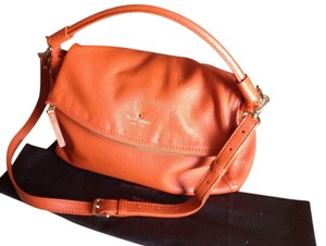 Kate Spade Cobble Hill Little Minka Cross Body Shoulder Orange Leather Satchel in Tangerino