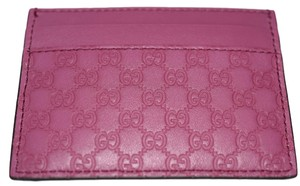 Gucci Gucci Credit Card Case Wallet Pink Leather Microguccissima 233166