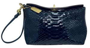 Coach Patent Leather Clutch Wristlet in Navy Blue