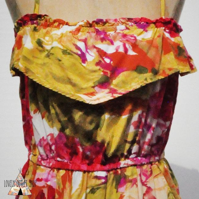 J.Crew short dress Multi Color Floral Pink And Green Ruffles on Tradesy