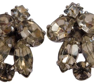 Vintage Unsigned Art-Deco Rhinestone Earrings, articulated marked