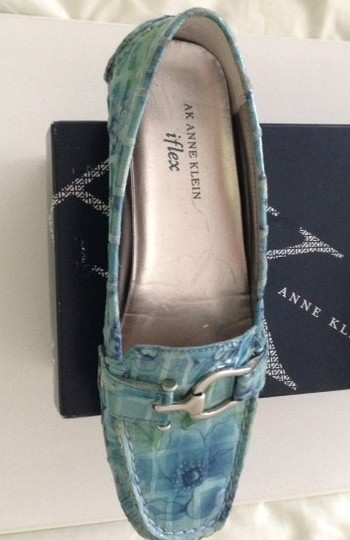 AK Anne Klein Patent Leather Loafer Floral Blue Flats