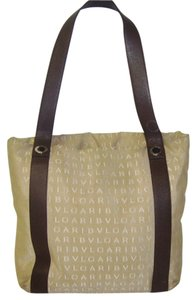 BVLGARI Mania Mammer Canvas Leather Satchel Tote