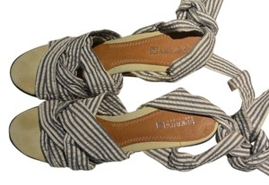 Sperry Light Blue And White Stripe Wedges