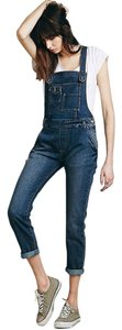 Free People Overalls Distressed Criss Cross Back Skinny Jeans-Dark Rinse