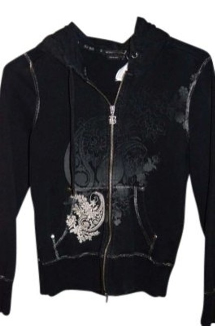 "Item - Black/Grey/Silver Zippered with Stitching and Pattern Measurements Are 18"" Underarm To Sweatshirt/Hoodie Size 8 (M)"