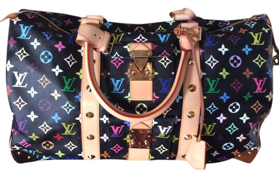 85637c2f154f Louis Vuitton Keepall 45 Black Multicolor Leather Weekend Travel Bag ...