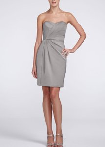 David's Bridal Mercury Strapless Satin Short Dress With Pleating #f15103 Dress