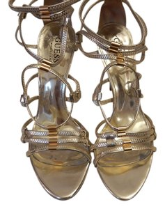 Guess By Marciano Strappy Pumps Stiletto Gold Silver Sandals