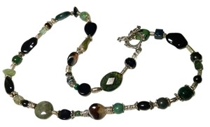 Handmade Onyx, Agate & Green Aventurine Gemstone Necklace N265
