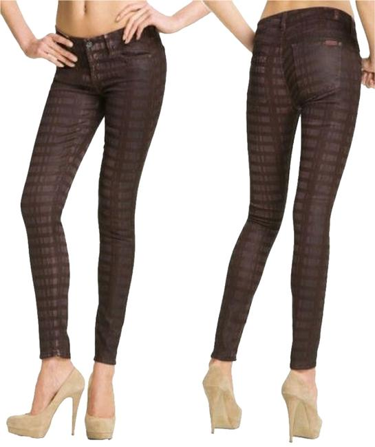 Item - Burgundy Maroon Brown Coated Wax Laser Plaid Ultra Skinny Jeans Size 25 (2, XS)