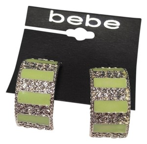 bebe Bebe Large Stud Earrings Green Silver Tone 2 in. Long J2123