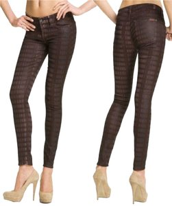7 For All Mankind Unique Elegant Plaid Geometric Print Laser Print Coated Womens Girls Deal Sale Skinny Jeans-Coated