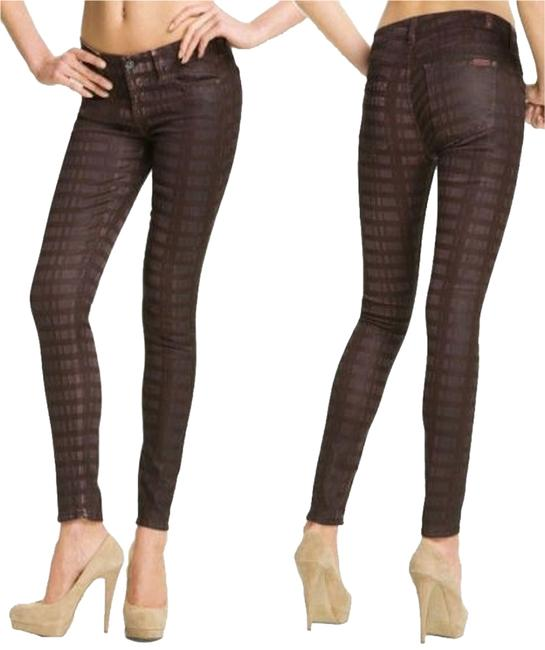 Item - Burgundy Maroon Brown Coated Wax Laser Plaid Ultra Skinny Jeans Size 27 (4, S)