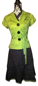 Amanda Lane Lime Green Black White Polka Dot Pinup 1950 Skirt Jacket Suit Set