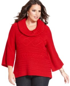 Style & Co Acrylic Machine Washable Imported Cowl Neckline Three-quarter-sleeves Cable Knit Slight At Sweater